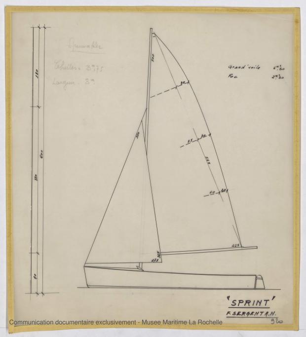 PLAN DE VOILURE/GREEMENT - Sprint  dériveur 3,97 m (1963)