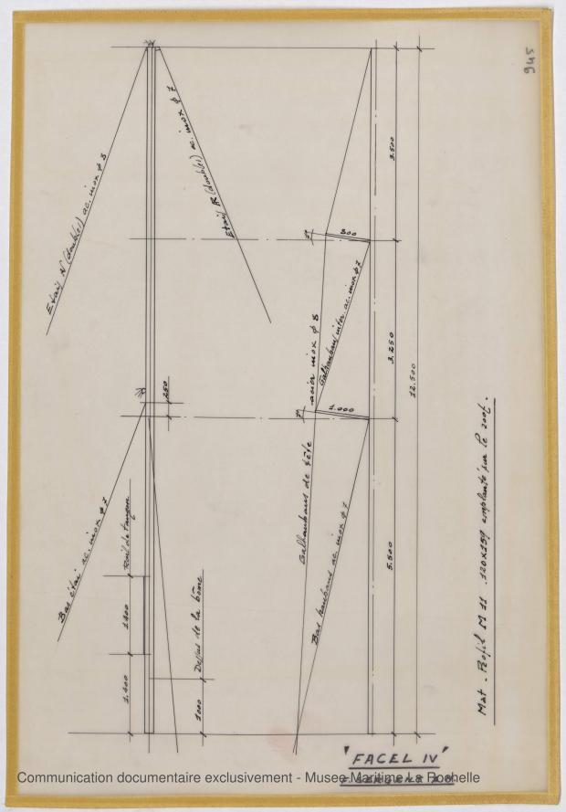 PLAN DE VOILURE/GREEMENT - Thetis III , Facel IV & Ste Anne IV 11,50 m (1964)