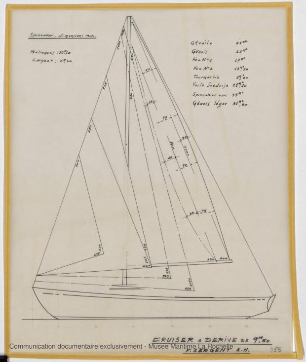 PLAN DE VOILURE/GREEMENT - Papsy  Cruiser à dérive 9,50 m (1964)