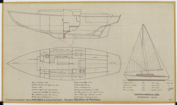 PLAN D'AMENAGEMENT  - Papsy  Cruiser à dérive 9,50 m (1964)