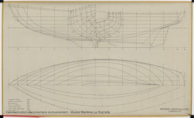 PLAN DE COQUE - Papsy  Cruiser à dérive 9,50 m (1964)