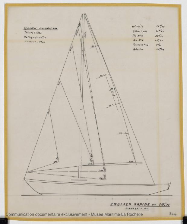 PLAN DE VOILURE/GREEMENT - Croiser rapide 10,75 m (1964)