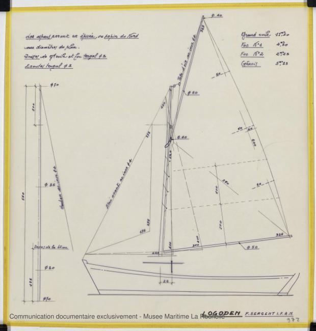 PLAN DE VOILURE/GREEMENT - Logoden, Sloop 5,40 m (1964)