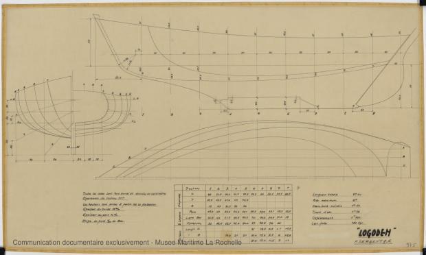 PLAN DE COQUE - Logoden, Sloop 5,40 m (1964)