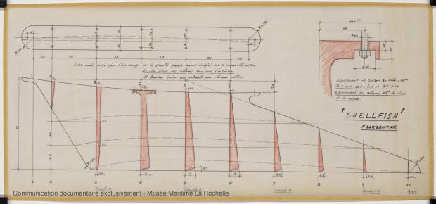PLAN DE DERIVE/QUILLE - Shelfish  8,75 M (1965)