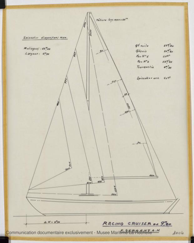 PLAN DE VOILURE/GREEMENT - Freya III racing cruise 9,50 m (1965)