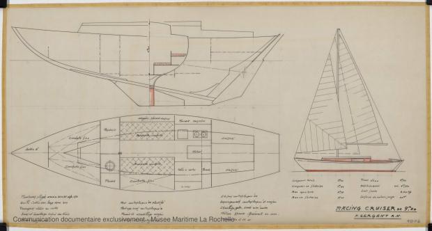 PLAN GENERAL - Freya III racing cruise 9,50 m (1965)