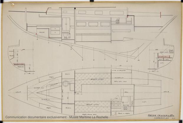 PLAN D'AMENAGEMENT  - Freya III racing cruise 9,50 m (1965)