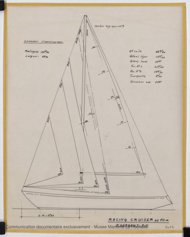 PLAN DE VOILURE/GREEMENT - Gisalnic IV  Racing Cruiser 10 m (1966)