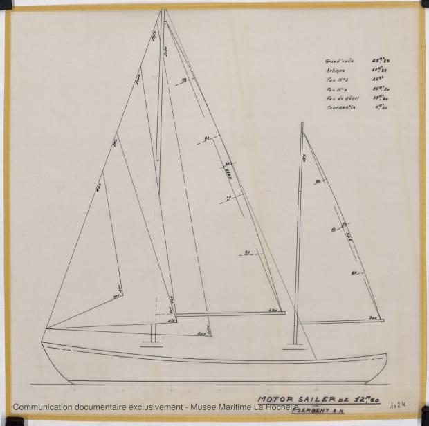 PLAN DE VOILURE/GREEMENT - Circé  Motor sailor 12,50 m (1966)