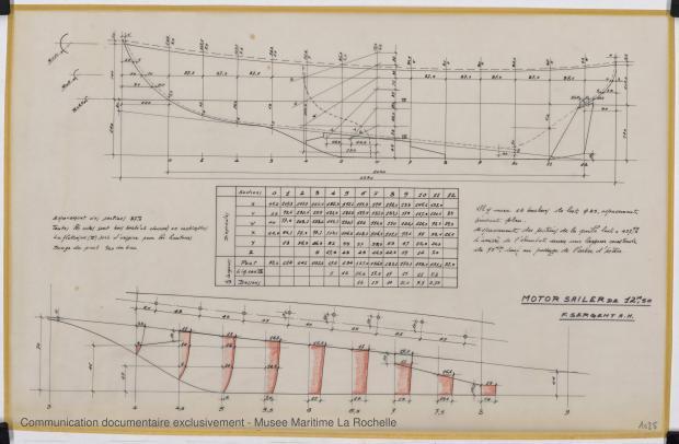 PLAN DE CONSTRUCTION - Circé  Motor sailor 12,50 m (1966)