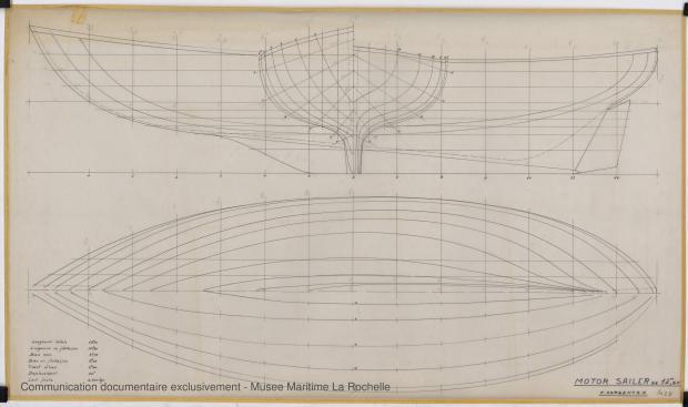 PLAN DE COQUE - Circé  Motor sailor 12,50 m (1966)