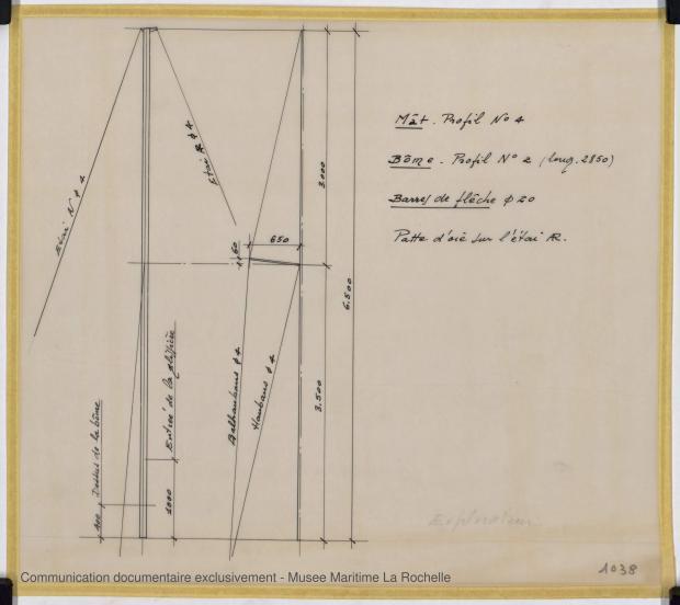 PLAN DE VOILURE/GREEMENT - Explorateur peche promenade 5,76 m (1966)