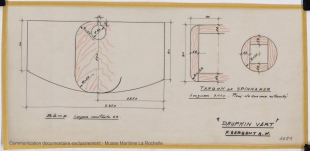 PLAN DE VOILURE/GREEMENT - Dauphin vert  10,00 m (1966)