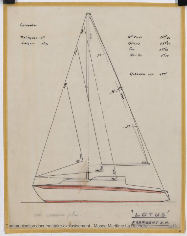 PLAN DE VOILURE/GREEMENT - Lotus  7,50 m  (1966)