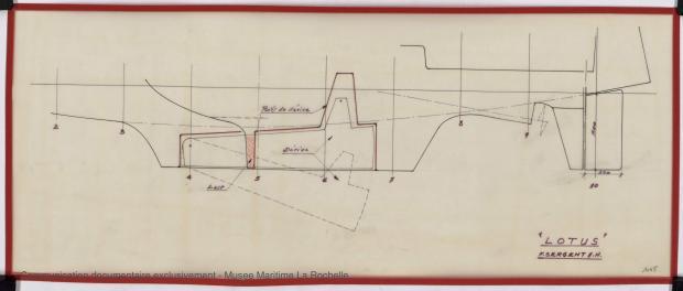 PLAN DE DERIVE/QUILLE - Lotus  7,50 m  (1966)