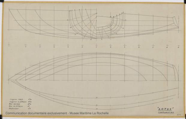 PLAN DE COQUE - Lotus  7,50 m  (1966)