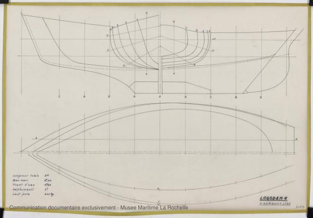 PLAN DE COQUE - Logoden VI  sloop de 6 m (1967)