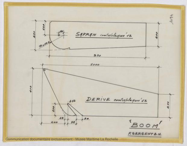 PLAN DE DERIVE/QUILLE - Boom dériveur 3,60 M (1967)