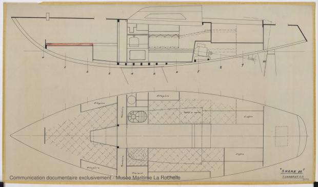 PLAN D'AMENAGEMENT  - Shark (minishark) & Squale  9 m (1967)