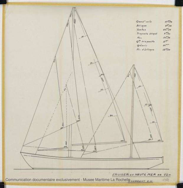 PLAN DE VOILURE/GREEMENT - Cruiser Haute mer 12 m (1969)