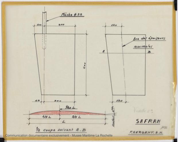 PLAN D'APPAREIL A GOUVERNER - Vedette 11m (1969)