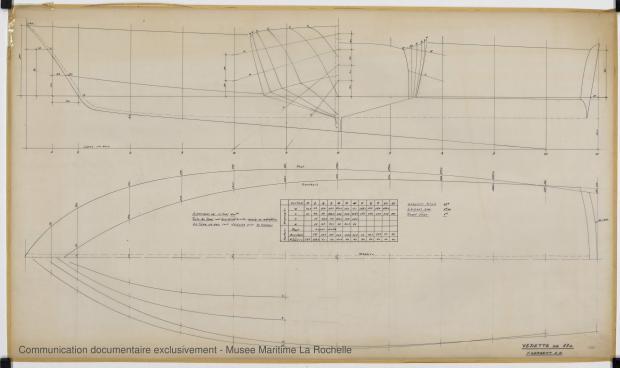 PLAN DE COQUE - Vedette 11m (1969)