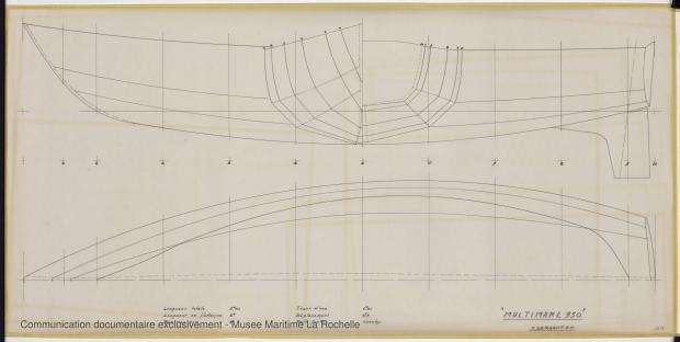 PLAN DE COQUE - Pegasus, Aramis, Multimar. 9,50 m (1970)