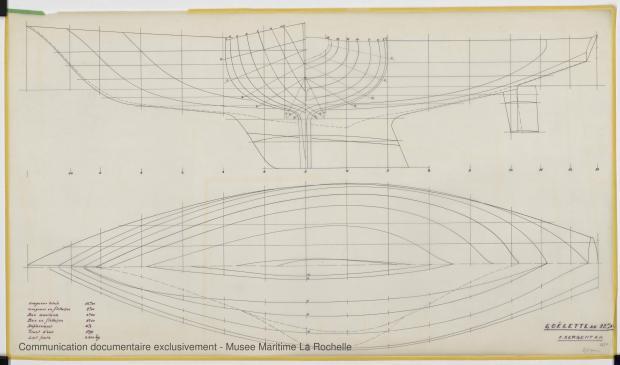 PLAN DE COQUE - Jean de la lune, Goelette 12,50 m (1970)