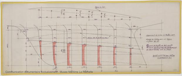 PLAN DE DERIVE/QUILLE - Jean de la lune, Goelette 12,50 m (1970)