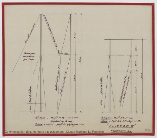 PLAN DE VOILURE/GREEMENT - Clipper II 9 m (1970)