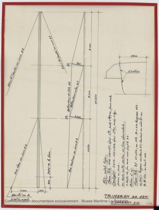 PLAN DE VOILURE/GREEMENT - Puka-Puka Trimaran 12 m (1971)