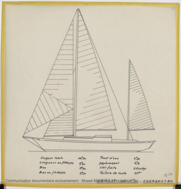 PLAN GENERAL - Ketch 12,50 m Acier (1971)
