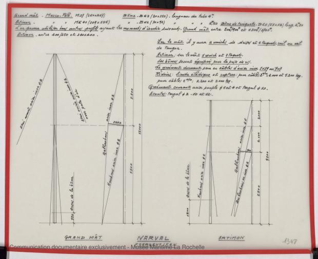 PLAN DE VOILURE/GREEMENT - Narval 11,75 M (1972)