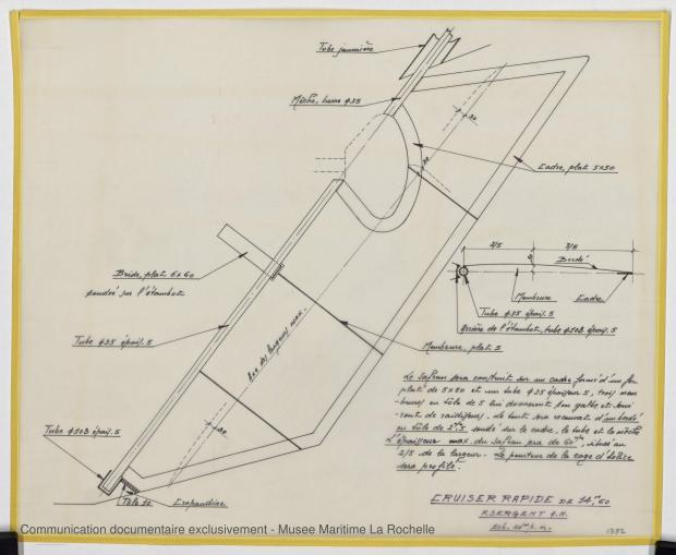 PLAN D'APPAREIL A GOUVERNER - Croiser rapide 14,60 m (1973)