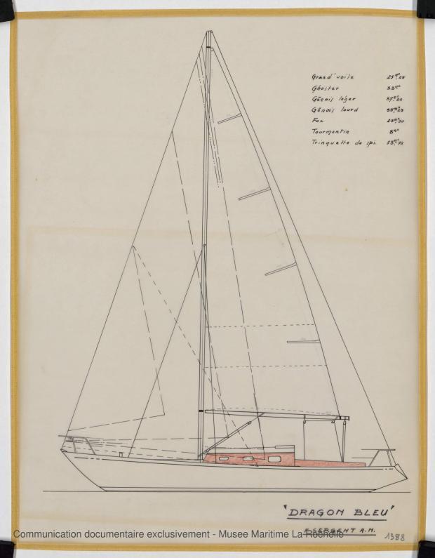 PLAN DE VOILURE/GREEMENT - Dragon bleu, Course croisière 10,50 m (1973)