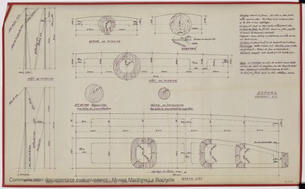 PLAN DE VOILURE/GREEMENT - Goelette 14,75 m (1974)