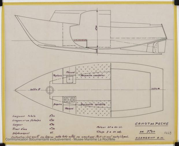 PLAN D'AMENAGEMENT  - Canot de peche 7,20 m (1975)
