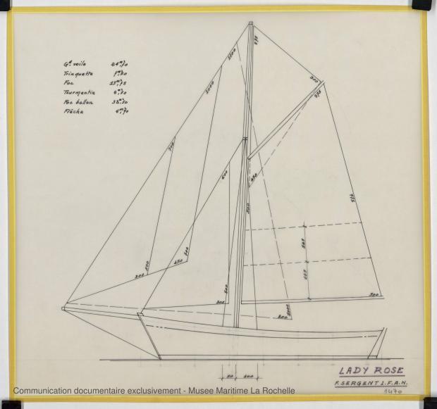 PLAN DE VOILURE/GREEMENT - Lady Rose, 9 m (1975)