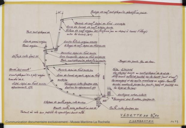 PLAN DE CONSTRUCTION - Vedette 8,60 m (1975)