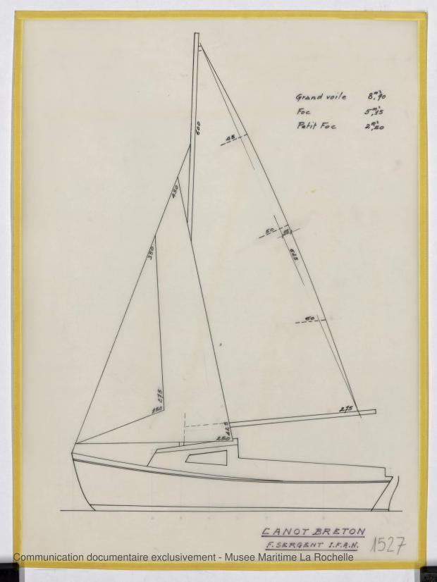 PLAN DE VOILURE/GREEMENT - Canot breton 6,25 m (1975)