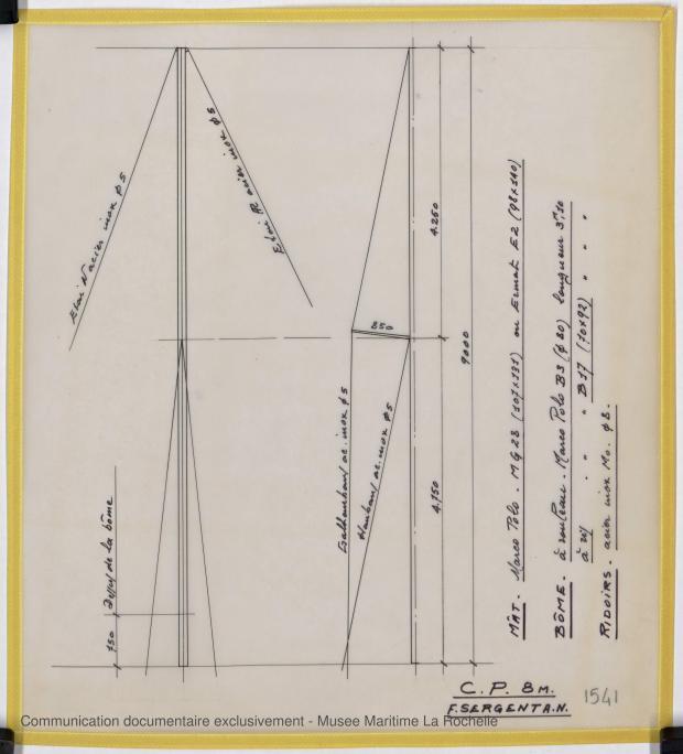 PLAN DE VOILURE/GREEMENT - Otarie  8,00 m (1976)