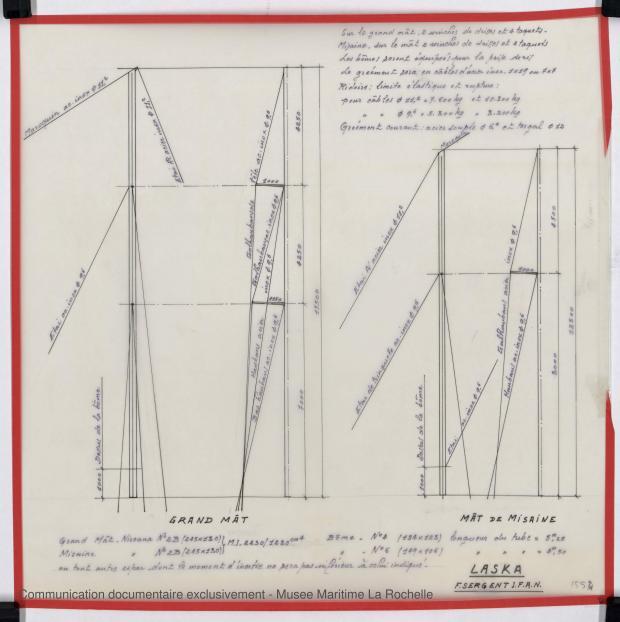 PLAN DE VOILURE/GREEMENT - Laska  Goelette  16,50 m (1976)