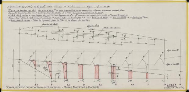PLAN DE DERIVE/QUILLE - Laska  Goelette  16,50 m (1976)