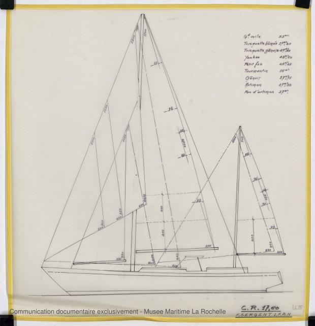 PLAN DE VOILURE/GREEMENT - CRUISER RAPIDE   17,60 M (1977)