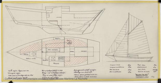 PLAN D'AMENAGEMENT  - Koantenn, Chaloupe 8.25 m (1978)