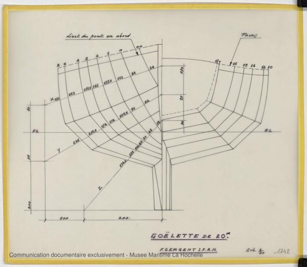 PLAN DE COQUE - Goelette de 20 m (Etude) (1978)