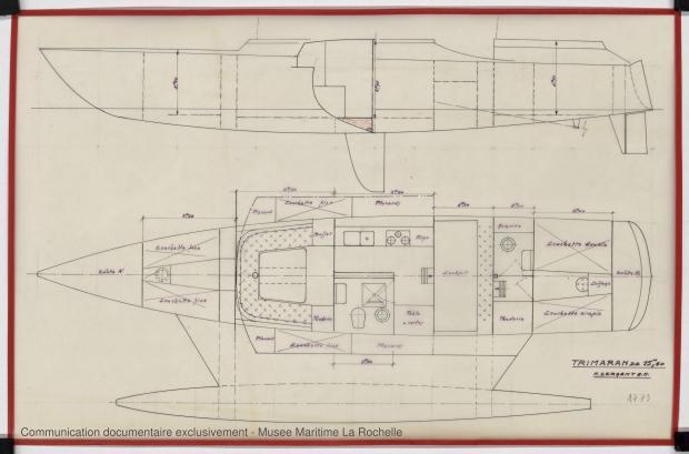 PLAN D'AMENAGEMENT  - TRIMARAN 15 50 M (1979)