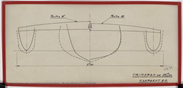 PLAN DE COQUE - TRIMARAN 15 50 M (1979)