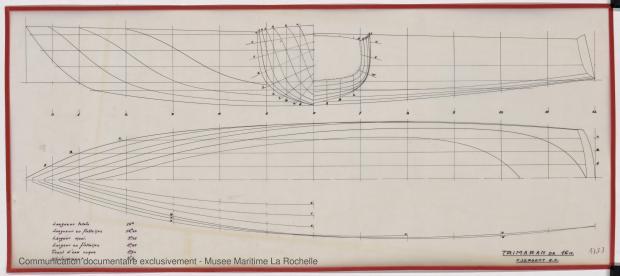 PLAN DE COQUE - TRIMARAN 16 M (1979)